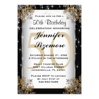 """Plantilla atractiva del cumpleaños - 50.o invitación 5"""" x 7"""""""
