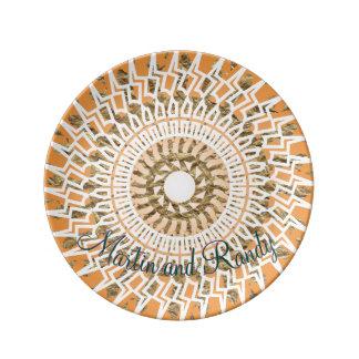 Plantilla azteca de la foto del círculo plato de cerámica