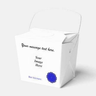 Plantilla azul de la cinta de la flor cajas para detalles de boda