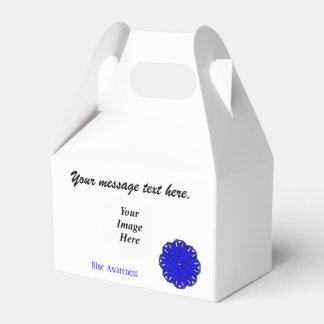 Plantilla azul de la cinta de la flor cajas para regalos de boda