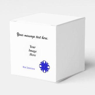 Plantilla azul de la cinta del trébol caja para regalos