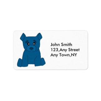 Plantilla azul de la etiqueta del oso etiqueta de dirección