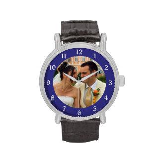 Plantilla azul de la foto del marco reloj de mano