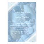 Plantilla azul de la invitación del boda de