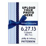 Plantilla azul de la invitación del nacimiento de invitación 12,7 x 17,8 cm