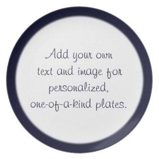 Plantilla azul de medianoche de la placa del borde platos para fiestas