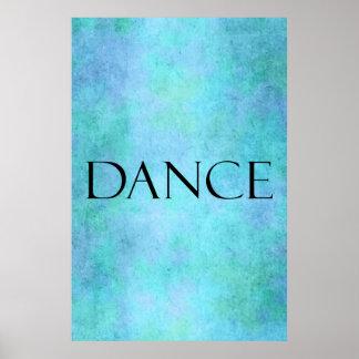 Plantilla azul del baile de la acuarela del trullo póster