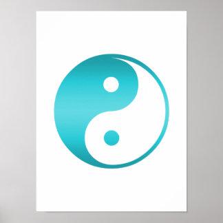 Plantilla azul del ejemplo del trullo de Yin Yang Póster