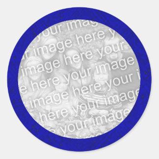Plantilla azul del pegatina de la foto