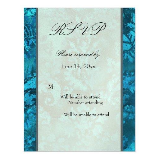 Plantilla azul metálica de la tarjeta de RSVP del  Anuncio Personalizado