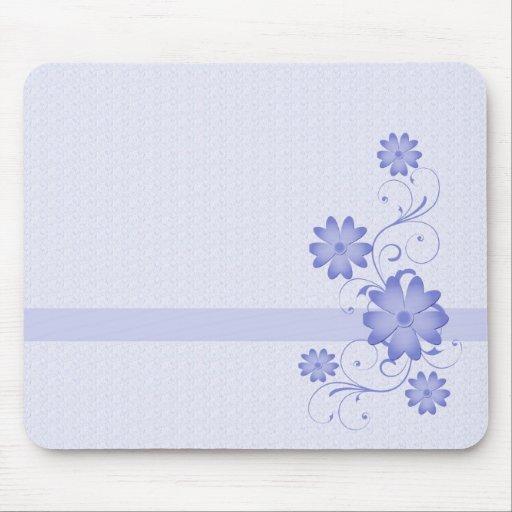 Plantilla azul Mousepad de la flor Alfombrillas De Raton