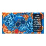 Plantilla azul y anaranjada de la tarjeta de la fo tarjetas con fotos personalizadas