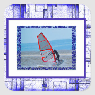 Plantilla azul y blanca intrépida de la foto del pegatina cuadrada