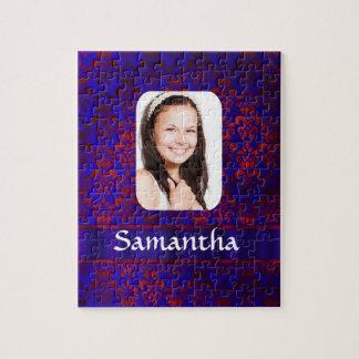 Plantilla azul y roja de la foto del damasco puzzles
