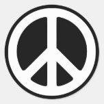 Plantilla blanca del símbolo de paz etiqueta redonda