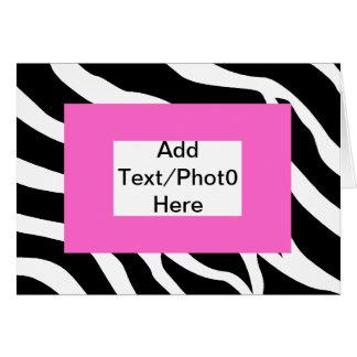 Plantilla blanca rosada de la cebra tarjeta de felicitación
