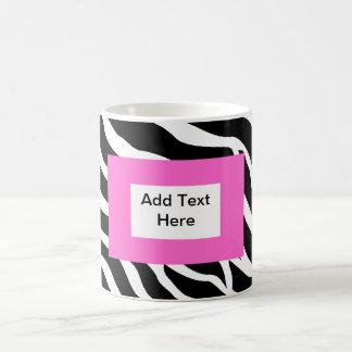 Plantilla blanca rosada de la cebra taza básica blanca