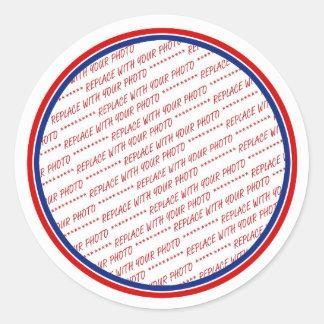 Plantilla blanca y azul roja del marco de la foto pegatina redonda