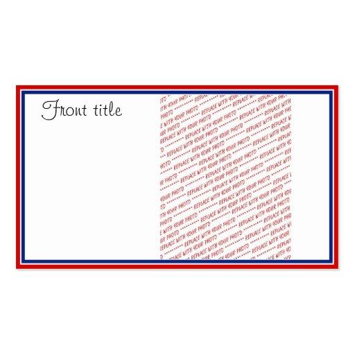 Plantilla blanca y azul roja del marco de la foto tarjetas de visita