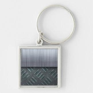 Plantilla cepillada de la placa del diamante del llavero cuadrado plateado
