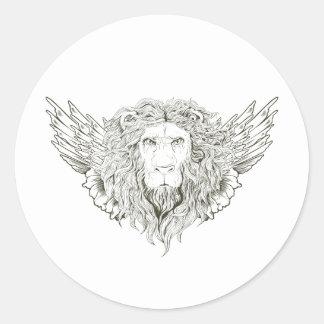 Plantilla coa alas ~ del regalo del personalizar etiqueta redonda