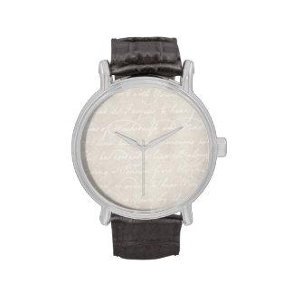 Plantilla colonial del documento de información relojes de pulsera