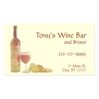 Plantilla color de rosa del vino de la uva tarjetas de visita
