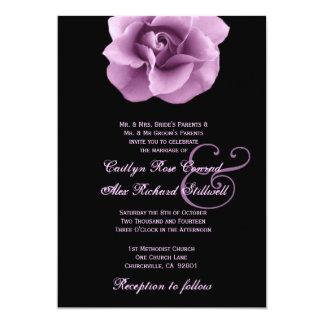 """Plantilla color de rosa púrpura B323 del boda Invitación 5"""" X 7"""""""