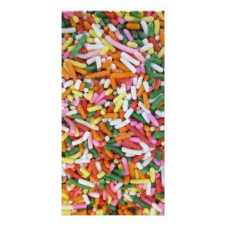 plantilla coloreada de la textura de los sprinkes tarjeta fotografica personalizada