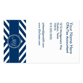 Plantilla con monograma azul de la tarjeta de tarjeta personal