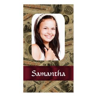 Plantilla confederada de la foto del dinero tarjetas de visita