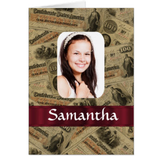 Plantilla confederada de la foto del dinero tarjeta de felicitación