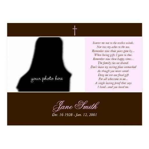 Plantilla conmemorativa fúnebre de la foto de la tarjeta postal