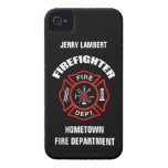 Plantilla conocida del bombero iPhone 4 Case-Mate carcasa