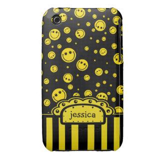Plantilla conocida sonriente de PolkaDot Funda Para iPhone 3
