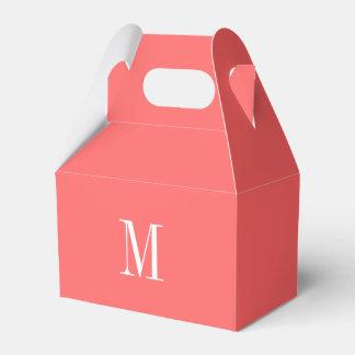 Plantilla coralina del monograma caja para regalos de fiestas