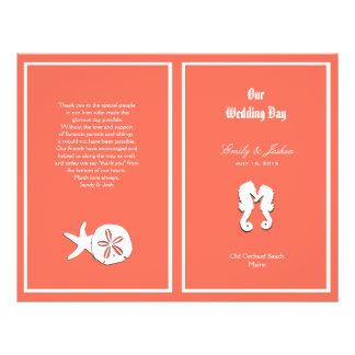 """Plantilla coralina del programa del boda de playa folleto 8.5"""" x 11"""""""