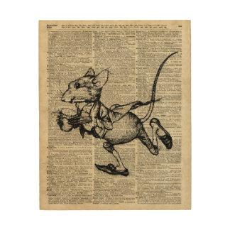 Plantilla corriente del ratón en la página vieja cuadros de madera