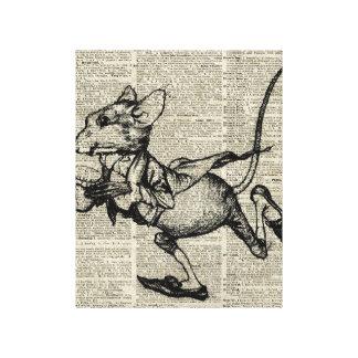 Plantilla corriente del ratón en la página vieja impresiones en lona estiradas