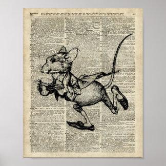 Plantilla corriente del ratón en la página vieja póster
