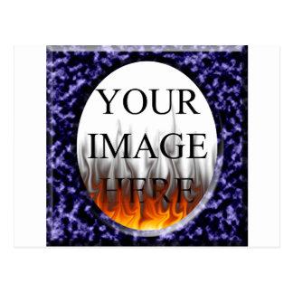 Plantilla cuadrada azul de mármol del marco postales