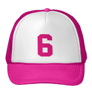Plantilla custom el número ocho 6 color rosa gorras