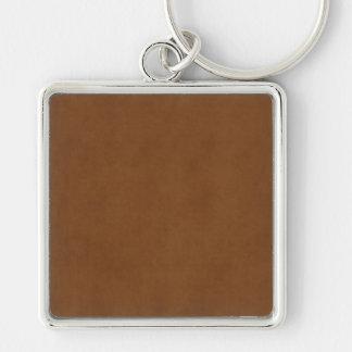 Plantilla de cuero bronceada vintage del pergamino llavero cuadrado plateado