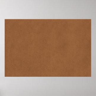 Plantilla de cuero del papel de pergamino de Brown Póster
