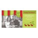 Plantilla de encargo del acebo y de la hiedra buen tarjetas personales con fotos