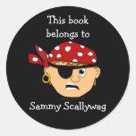 Plantilla de encargo del Bookplate del muchacho Etiquetas Redondas
