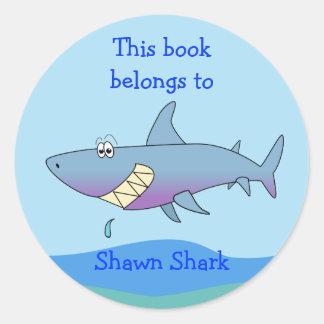 Plantilla de encargo del Bookplate del tiburón Pegatina Redonda