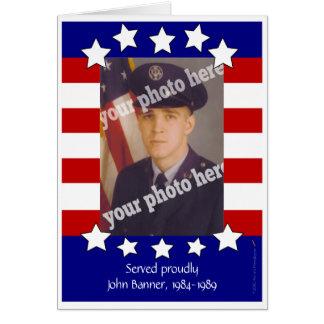 Plantilla de encargo del marco de la foto de las tarjeta de felicitación