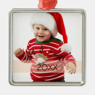 Plantilla de encargo del ornamento del año de la adorno navideño cuadrado de metal