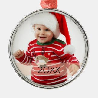Plantilla de encargo del ornamento del año de la adorno navideño redondo de metal